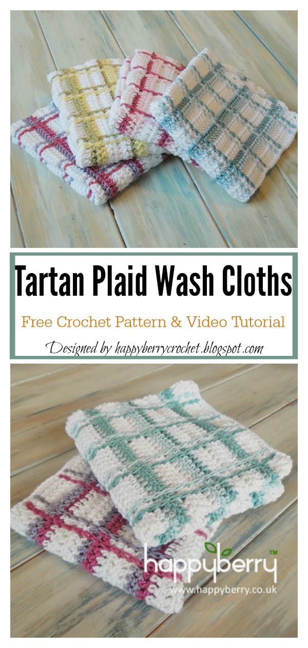Tartan Plaid Washcloth Free Crochet Pattern and Video Tutorial