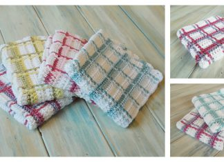 Tartan Plaid Washcloth Free Crochet Pattern and Video Tutorial