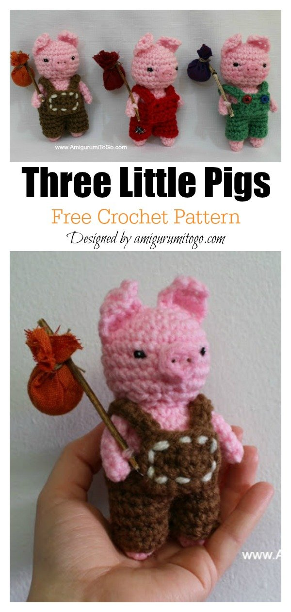 The Three Little Pigs Amigurumi Free Crochet Pattern