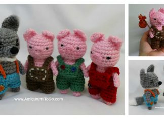 The Three Little Pigs and Big Bad Wolf Amigurumi Free Crochet Pattern