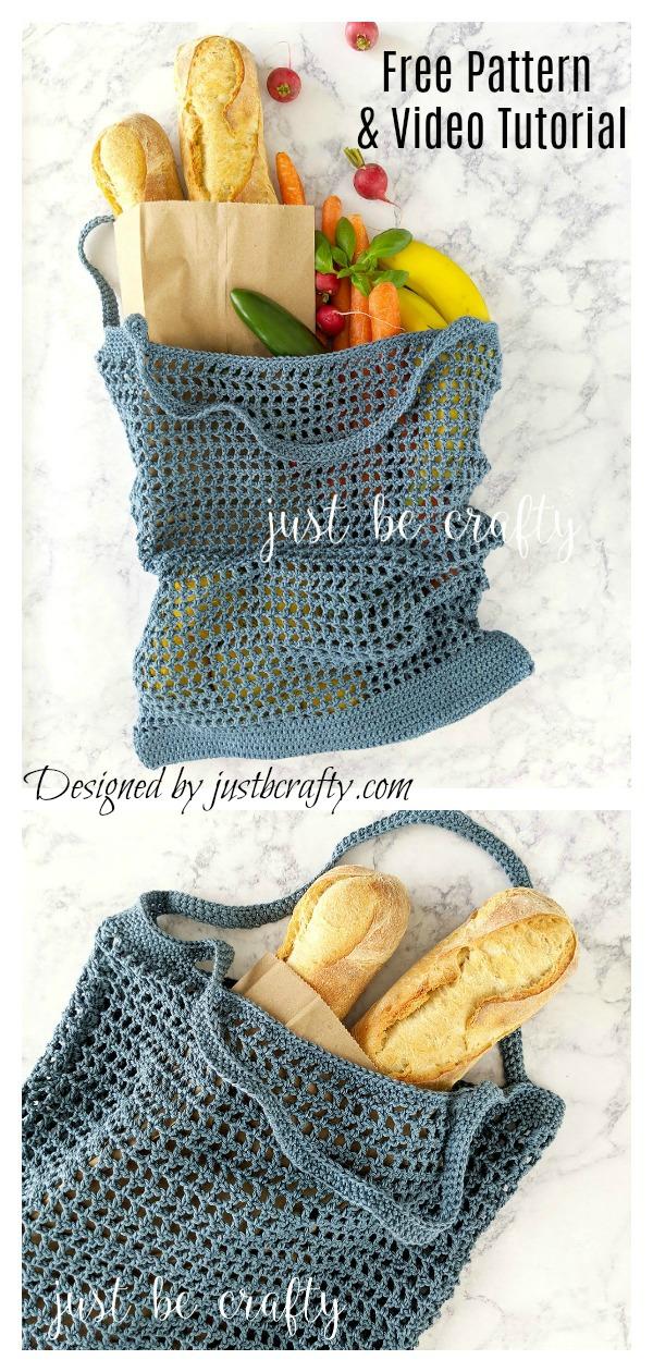 Veggie Stand Market Bag Free Crochet Pattern & Video Tutorial