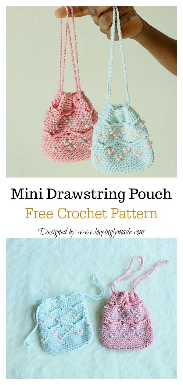 Beaded Mini Drawstring Pouch Bag Free Crochet Pattern