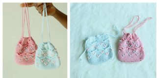 Beaded Mini Drawstring Pouch Bag Free Crochet Pattern