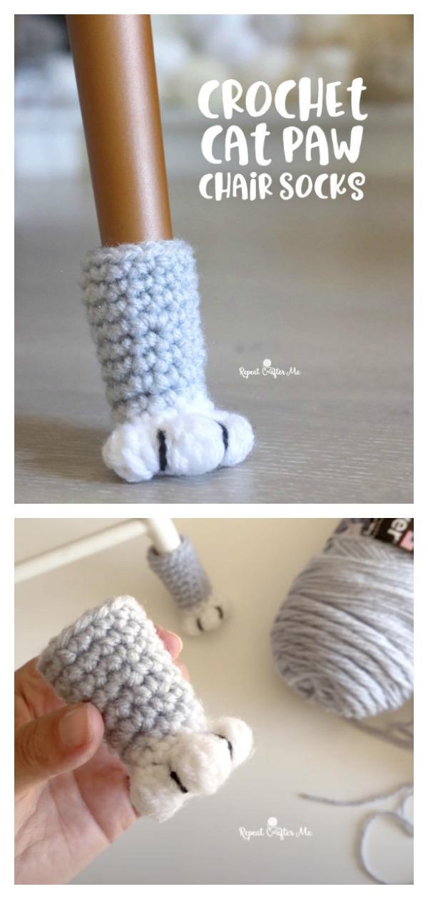 Cat Paw Chair Socks Free Crochet Pattern