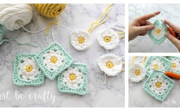 Daisy Granny Square Motif Free Crochet Pattern and Video Tutorial