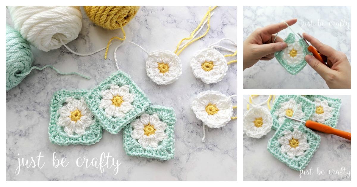 Daisy Granny Square Motif Free Crochet Pattern And Video Tutorial