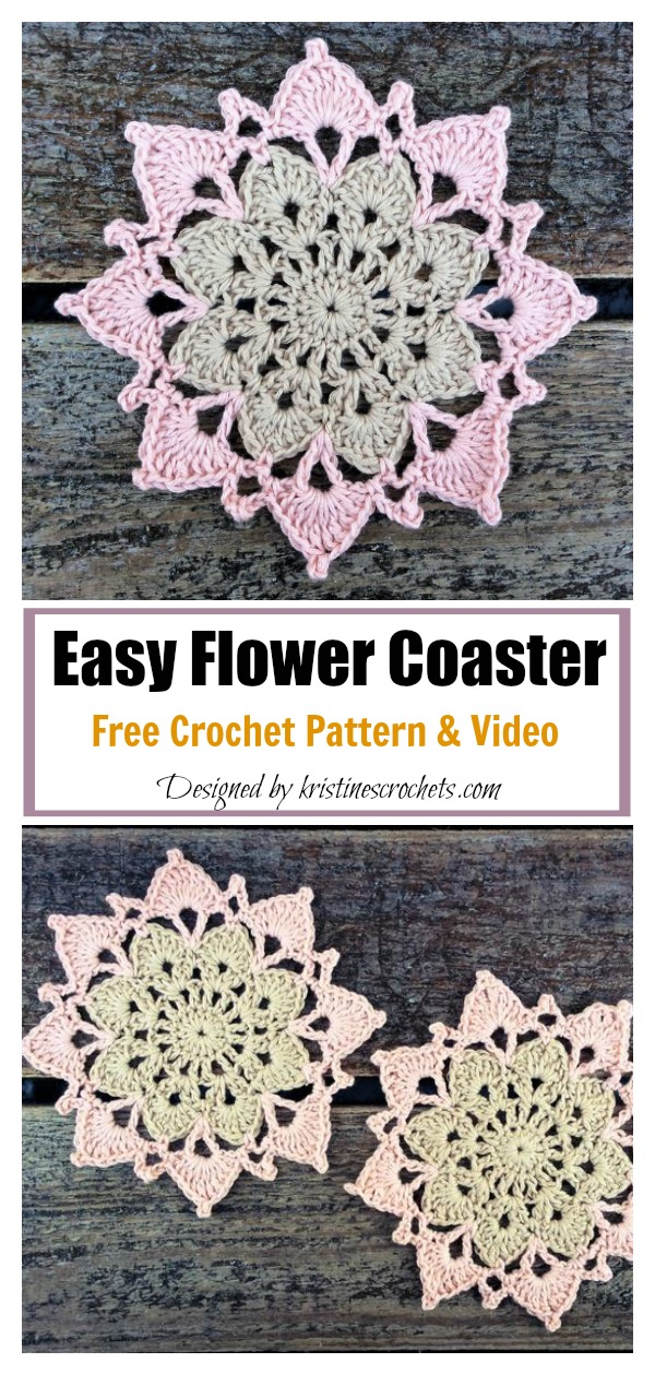 Easy Flower Coaster Free Crochet Pattern and Video Tutorial