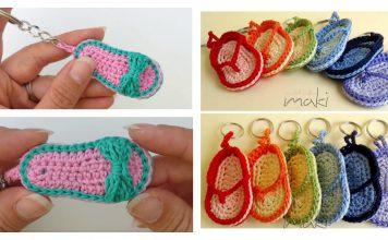 Flip Flops Slippers Sandals Keychain Free Crochet Pattern