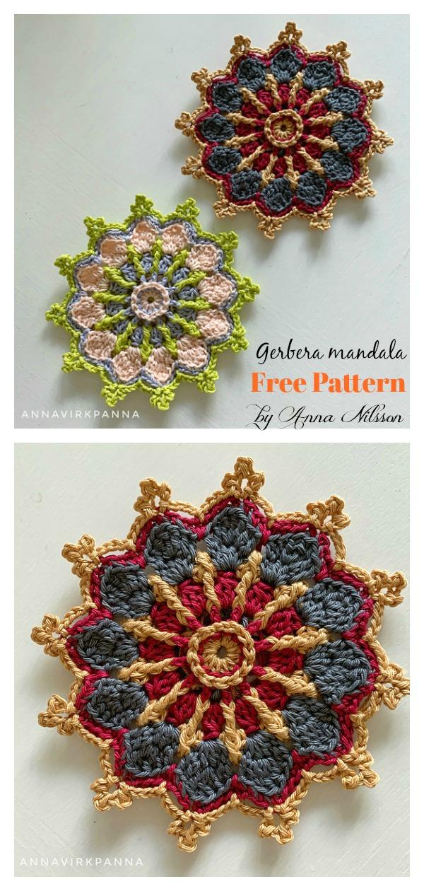 Gerbera Mandala Flower Coaster Free Crochet Pattern