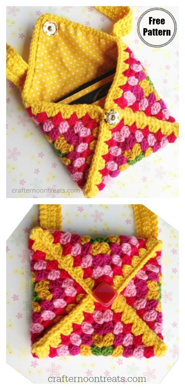 Granny Square Envelope Clutch Bag Free Crochet Pattern