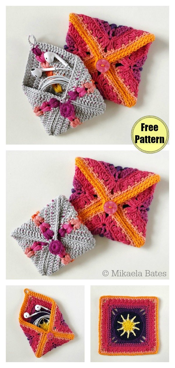Granny Square Pouch Bag Free Crochet Pattern