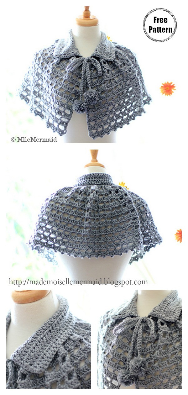 Lace Mystical Cape with Collar and Pom Poms Free Crochet Pattern