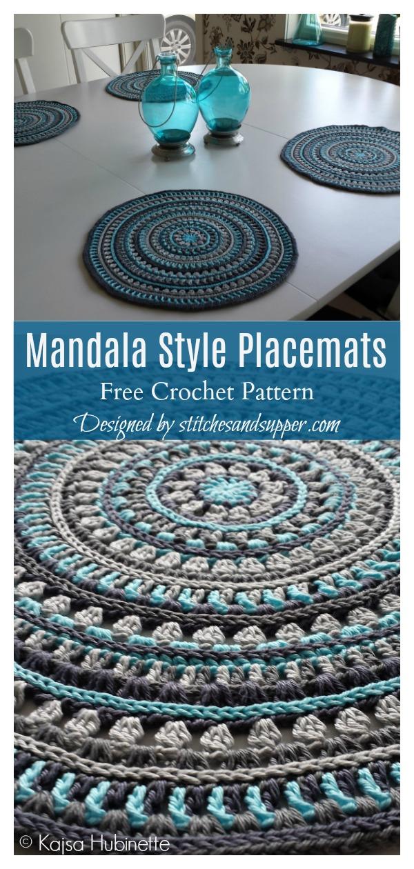 Mandala Style Placemats Free Crochet Pattern