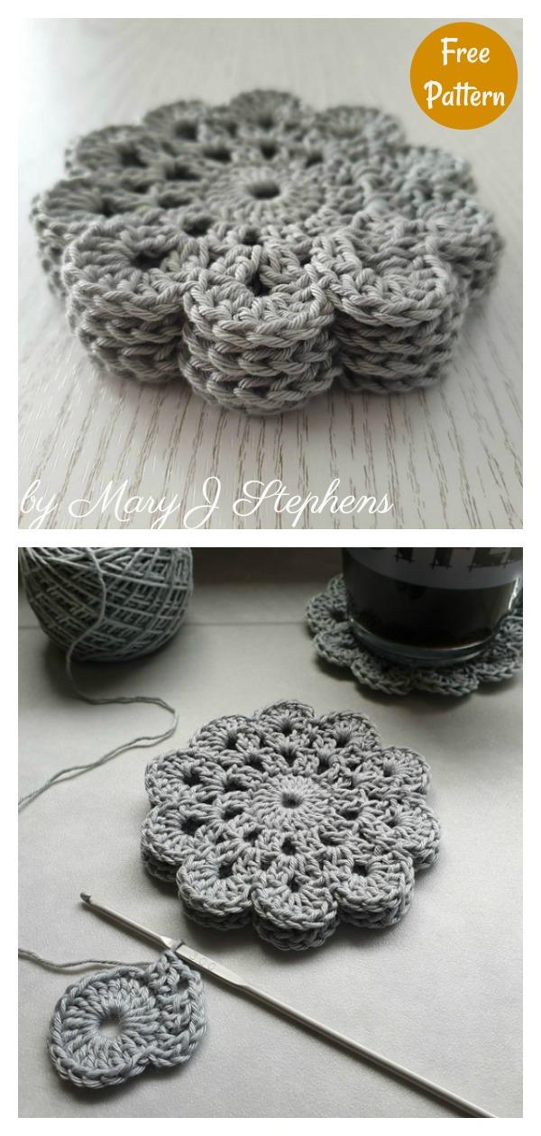 Pretty Flower Coasters Free Crochet Pattern