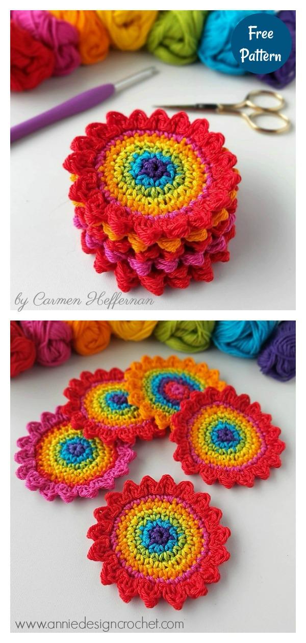 Rainbow Flower Coasters Free Crochet Pattern
