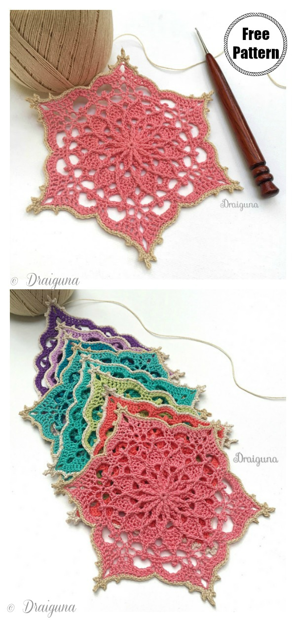 Wispweave Hexagon Flower Coaster Free Crochet Pattern