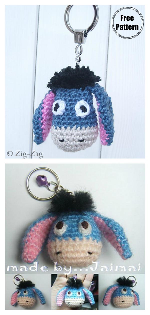 Amigurumi Blue Donkey Eeyore Keychain Free Crochet Pattern