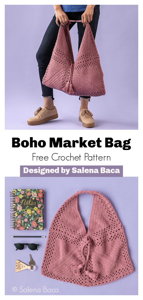 Boho Market Bag Made with 3 Squares Free Crochet Pattern