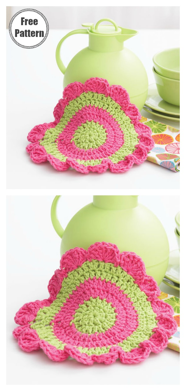 Daisy Wheel Dishcloth Free Crochet Pattern