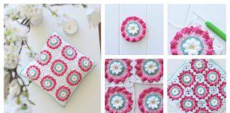 Daisy Wheel Granny Square Cushion Free Crochet Pattern