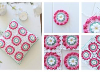 Daisy Wheel Granny Square Cushion Free Crochet Pattern