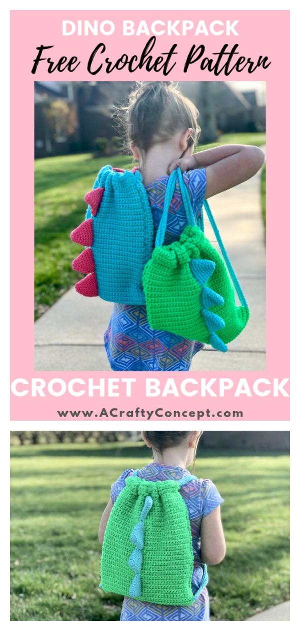 Dino Kids Backpack Free Crochet Pattern