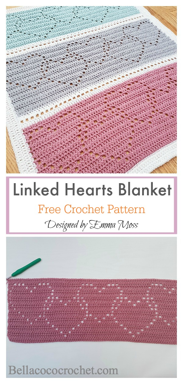 Filet Linked Hearts Blanket Free Crochet Pattern