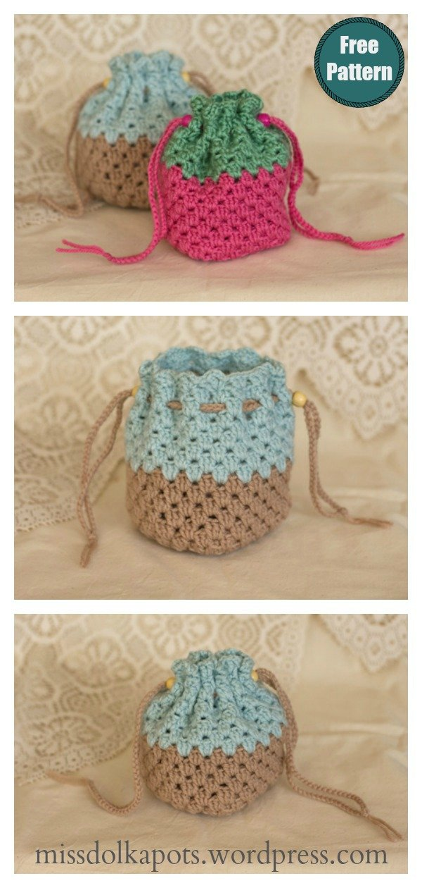 Granny Square Drawstring Bag Free Crochet Pattern