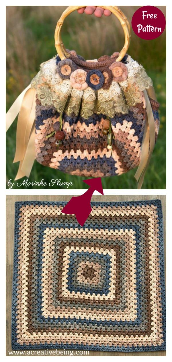 Granny Square Fat Bottom Bag Free Crochet Pattern