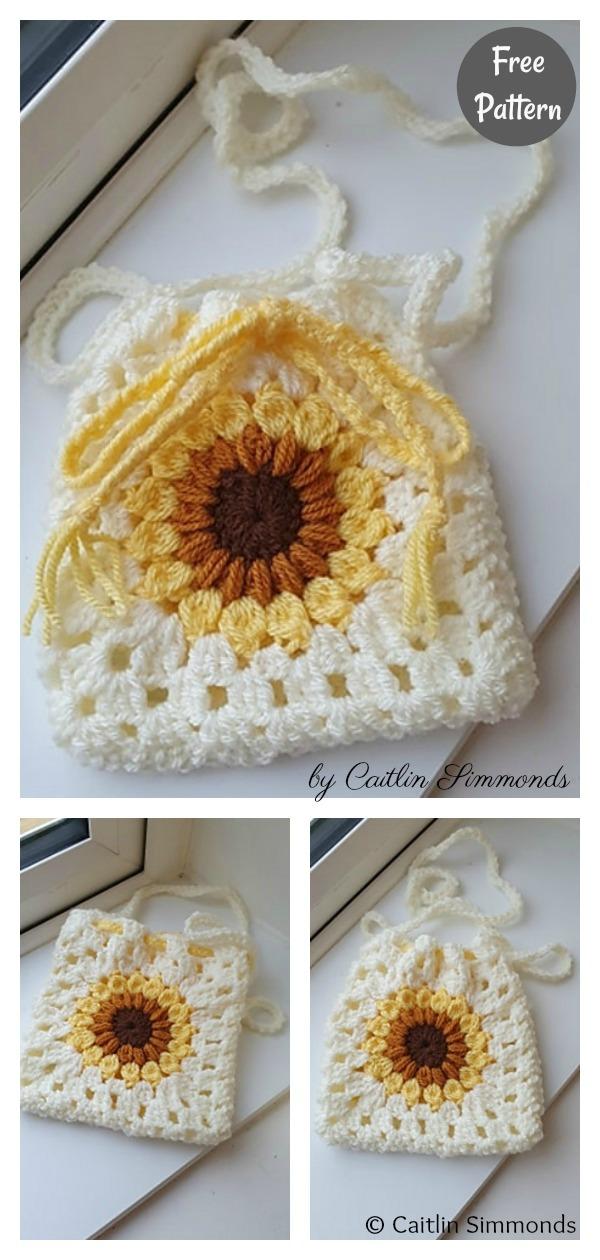 Granny Square Sunflower Drawstring Bag Free Crochet Pattern