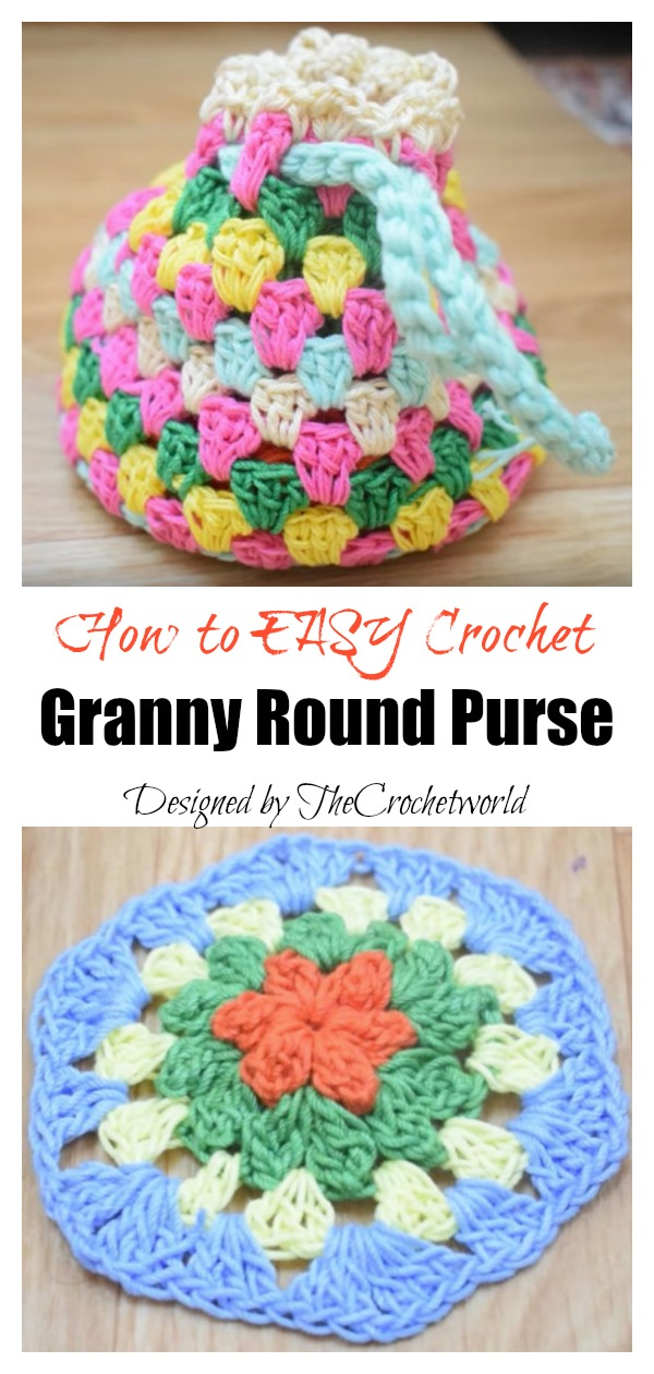 How to Easy Crochet Granny Round Purse
