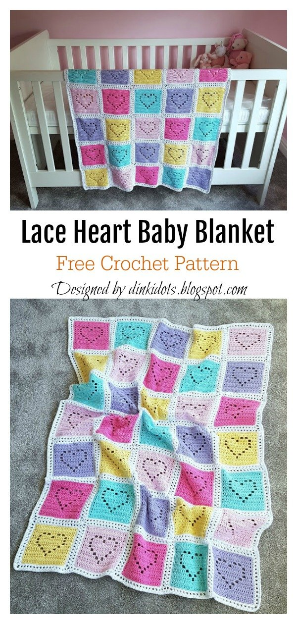 Lace Heart Baby Blanket Free Crochet Pattern