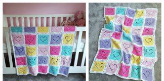 Lace Heart Baby Blanket Free Crochet Pattern