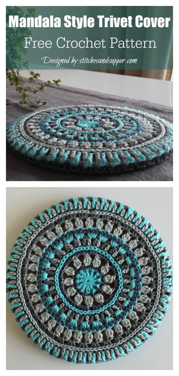 Mandala Style Trivet Cover Potholder Free Crochet Pattern