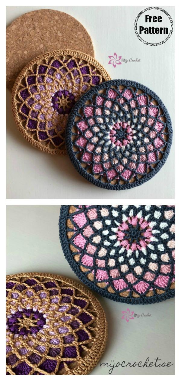 Mandala Style Trivet Potholder Free Crochet Pattern