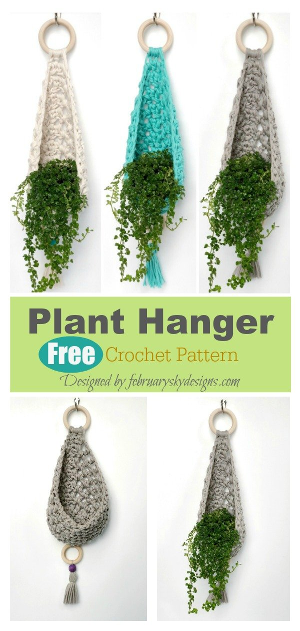 Teardrop Basket Plant Hanger Free Crochet Pattern