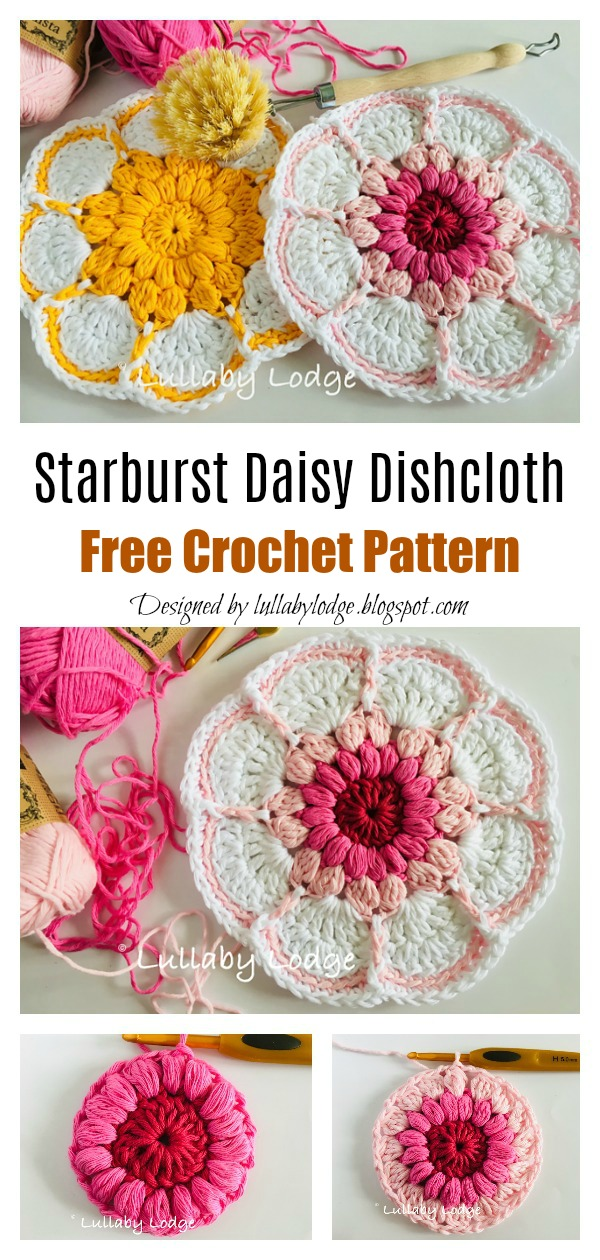 Starburst Daisy Flower Dishcloth Free Crochet Pattern