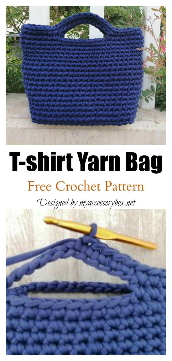 T-shirt Yarn Classic Tote Bag Free Crochet Pattern