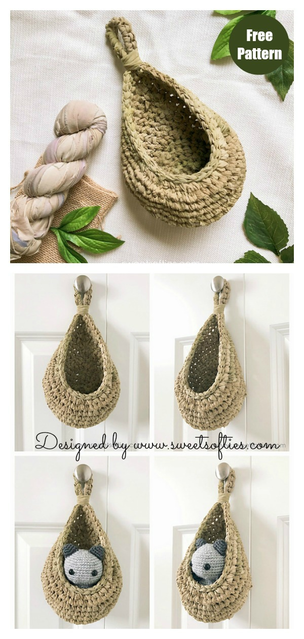 Teardrop Hanging Baskets Free Crochet Pattern