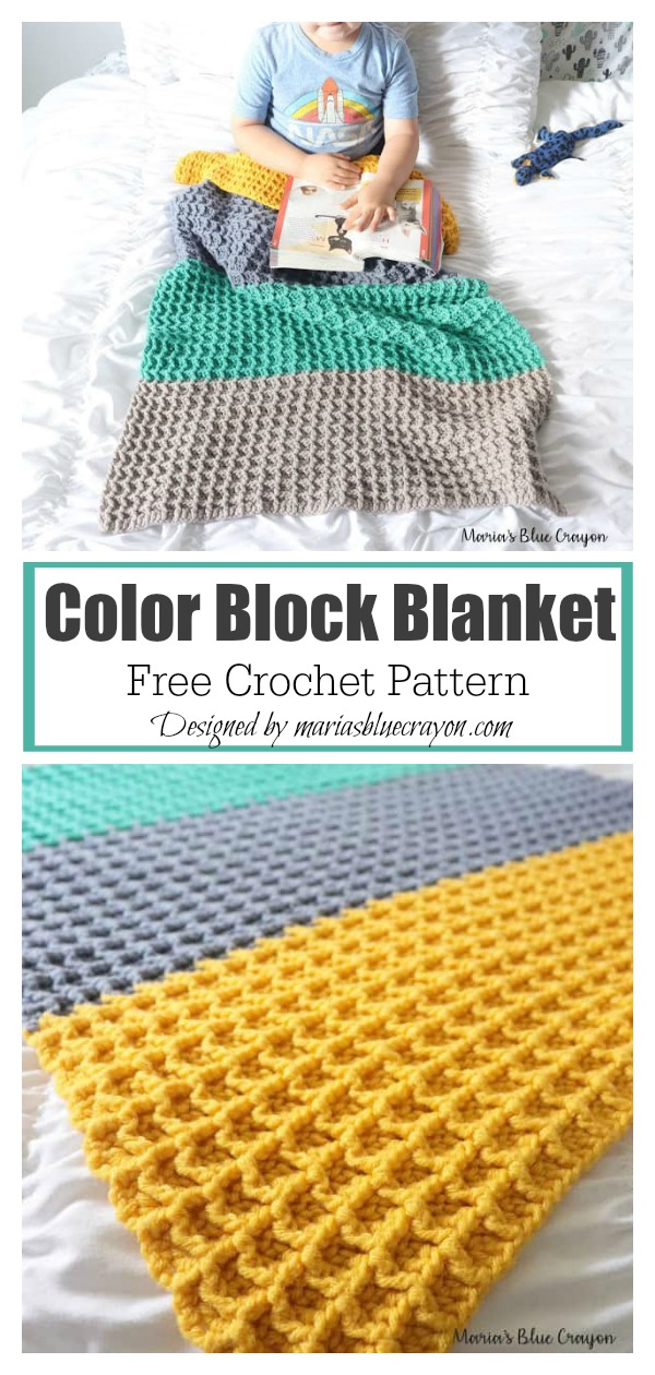 Waffle Stitch Color Block Blanket Free Crochet Pattern