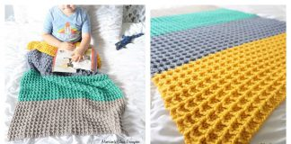 Waffle Stitch Color Block Blanket Free Crochet Pattern