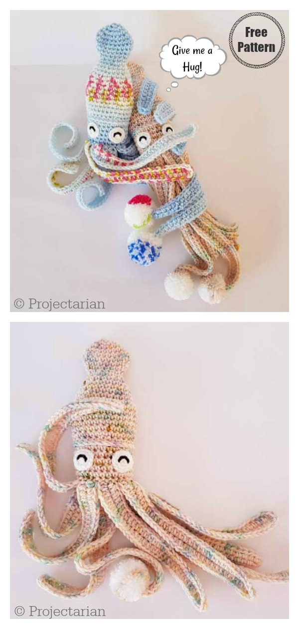 Amigurumi Hubble the Squid Free Crochet Pattern