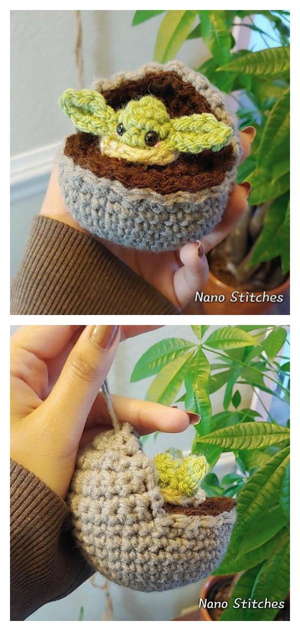 Baby Yoda Ornament Free Crochet Pattern