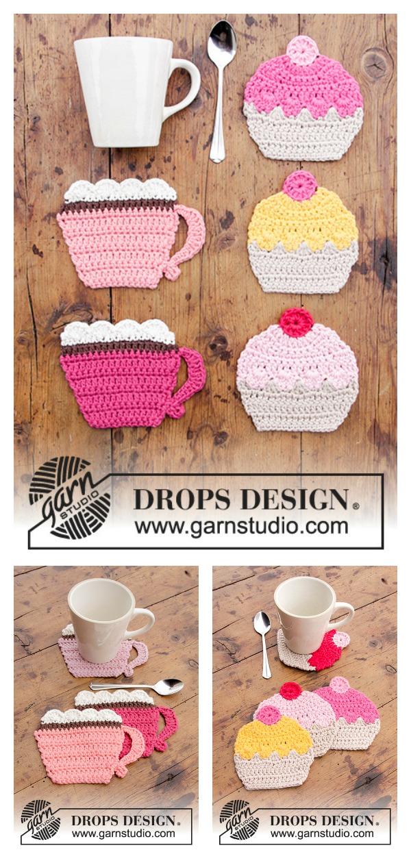 Breakfast Cupcakes Coasters Free Crochet Pattern
