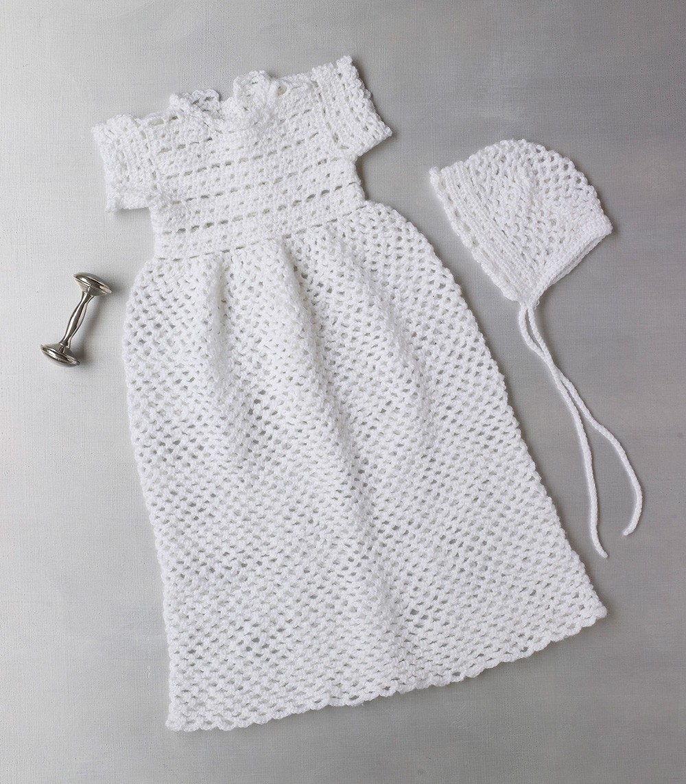 Christening Gown And Bonnet Free Crochet Pattern