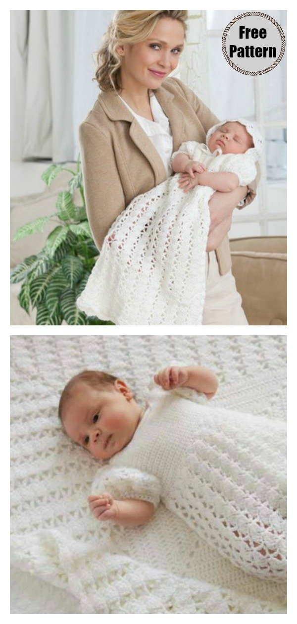 Christening Gown Little Cherub Set Free Crochet Pattern