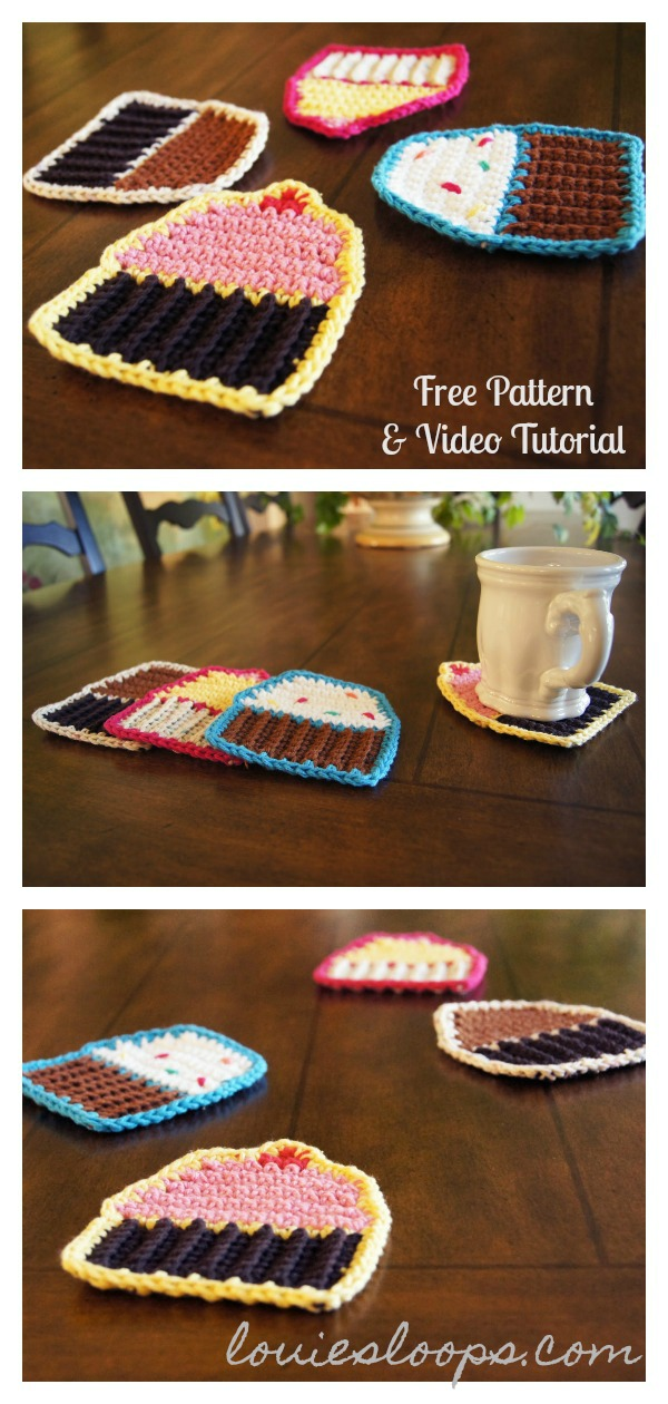 Cupcake Coasters Free Crochet Pattern and Video Tutorial