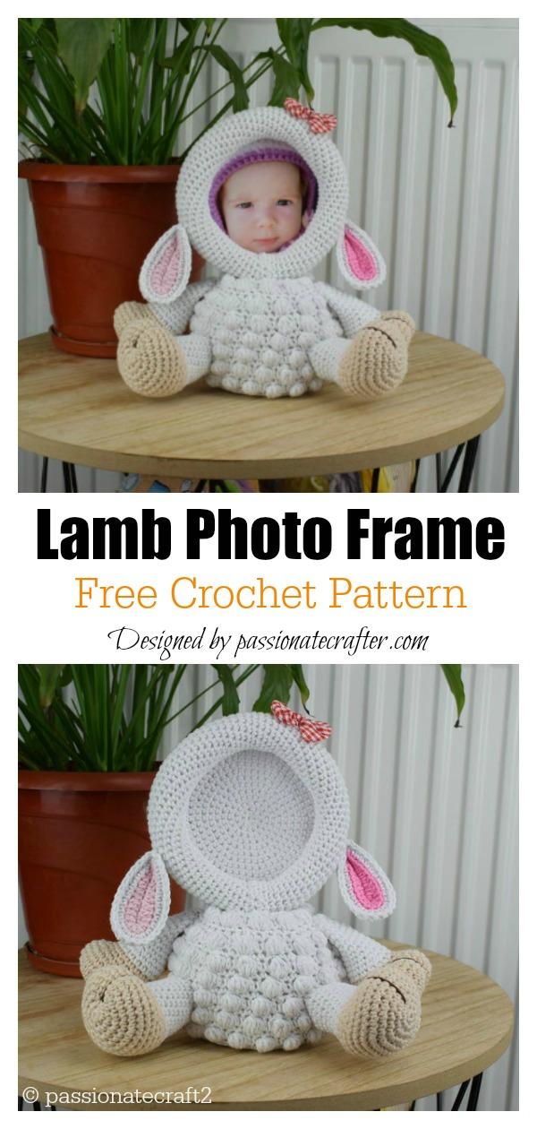 Cute Animal Lamb Photo Frame Free Crochet Pattern