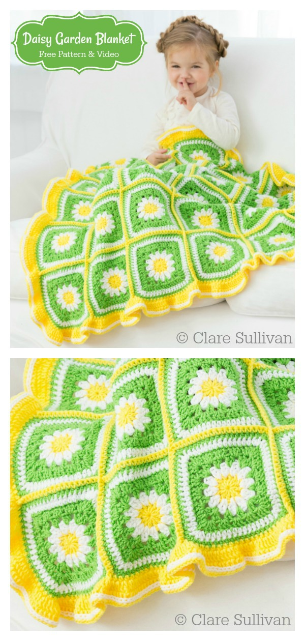 Daisy Garden Blanket Free Crochet Pattern and Video Tutorial