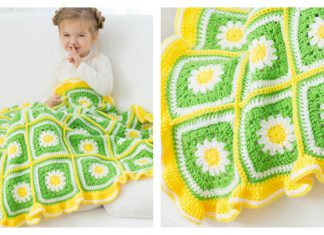 Daisy Garden Blanket Free Crochet Pattern and Video Tutorial